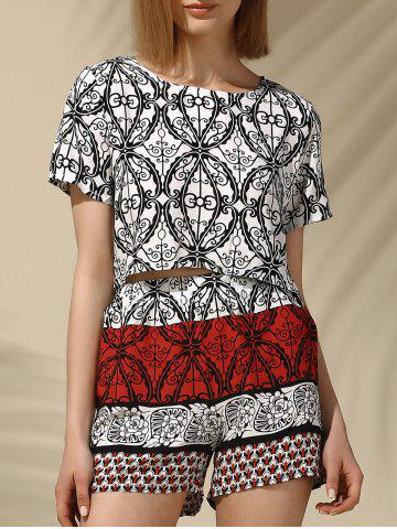 Hot Ethnic Women's Jewel Neck Printed Crop Top and Shorts Set