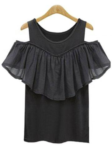 Shops Plus Size Hollow Out Short Sleeve Flounced Blouse