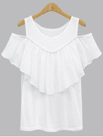 Fashion Plus Size Hollow Out Short Sleeve Flounced Blouse
