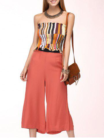 Fancy Refreshing Strapless Elastic Top + Wide-Leg Capri Pants Twinset For Women