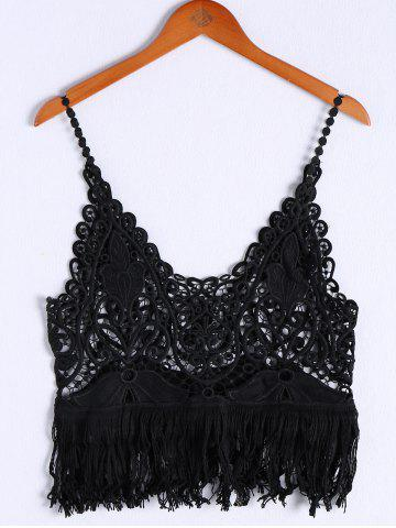 Cheap Stylish V-Neck Crochet Fringe Crop Top For Women