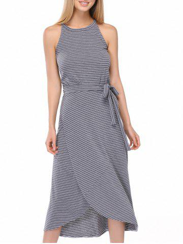 Buy Casual Striped Tank Top + Tie Side High Low Skirt Twinset For Women