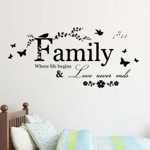 Affordable High Quality Removable Family Butterfly Wall Art Sticker - BLACK  Mobile