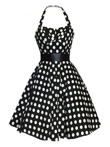 Store Retro Polka Dot Halter Sweetheart Neck Dress BLACK XL