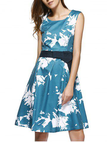 Cheap Tie Dye Sleeveless High Waist  Dress