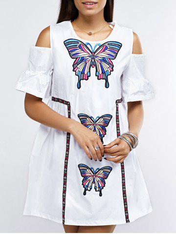 Cheap Open Shoulder Bell Sleeve Butterfly Embroidered Dress
