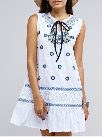 New Preppy Sleeveless Frilly Embroidery Tie Front Dress