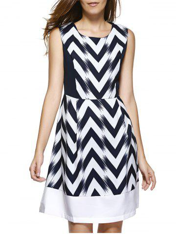 Trendy Sleeveless Zigzag Stripe Fit and Flare Dress