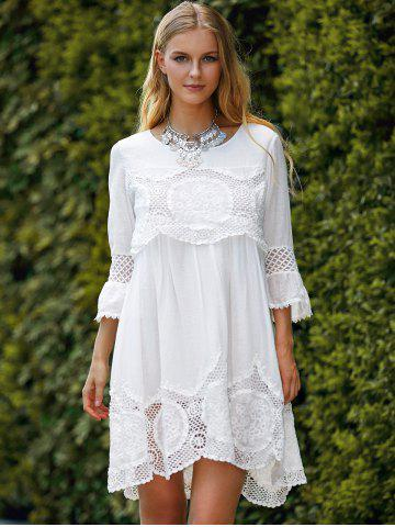 Discount Fashionable Scoop Neck 3/4 Sleeve Lace Splicing Dress