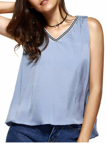 Online Sweet V-Neck Patchwork Asymmetric Tank Top For Women
