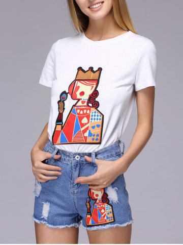 Fancy Chic Playing Card Patch Design T-Shirt + Broken Hole Shorts Women's Twinset