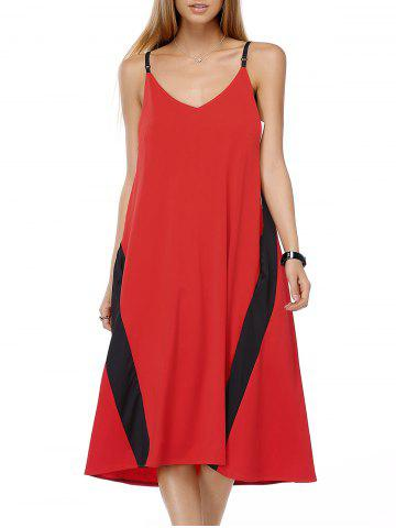 Shops Chic Women's Color Block Spaghetti Strap Dress