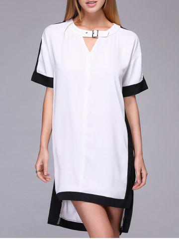Unique Chic Women's Loose Hit Color Short Sleeve Dress