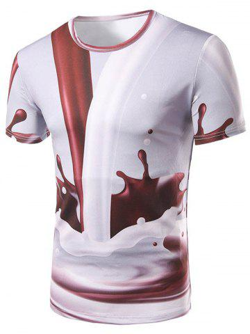 Shop 3D Coffee and Milk Print Round Collar T-Shirt For Men COLORMIX XL