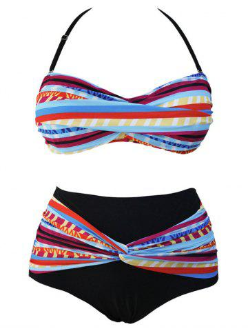 Stylish Plus Size Halter Draped Design Bikini Set For Women - COLORFUL 3XL