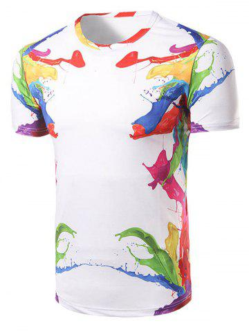 Best Fashion Round Collar Colorful Printing T-Shirt For Men WHITE L