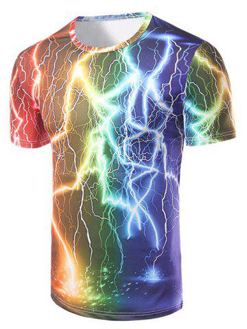 Hot Fashion Round Collar Lightning Printing T-Shirt For Men COLORFUL 2XL