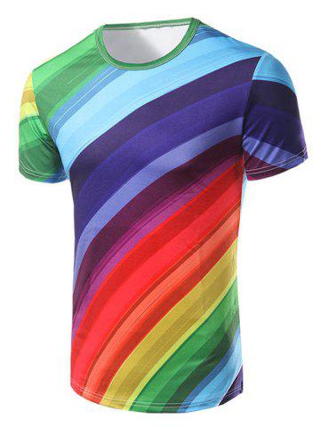 Best Fashion Round Collar Rainbow Striped Printing T-Shirt For Men COLORFUL 2XL