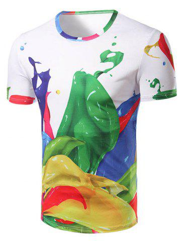 Shops Fashion Round Collar Color Printing T-Shirt For Men COLORMIX 2XL