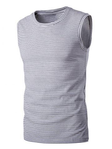 Affordable Round Neck Striped Sleeveless T-Shirt For Men
