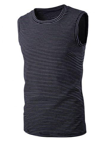 Shop Round Neck Striped Sleeveless T-Shirt For Men BLACK XL