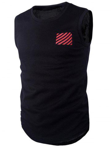 Fashion Round Neck Letter and Stripe Printed Mesh Sleeveless T-Shirt For Men RED XL