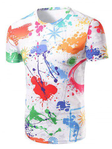 Latest Fashion Round Collar Colorful Painting T-Shirt For Men COLORFUL 2XL