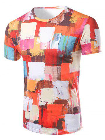 Store Fashion Round Collar Color Block Painting T-Shirt For Men