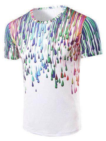 Fashion Round Collar 3D Painting T-Shirt For Men - COLORFUL 2XL