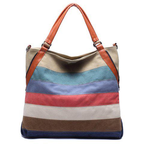 Trendy Casual Strip and Canvas Design Tote Bag For Women