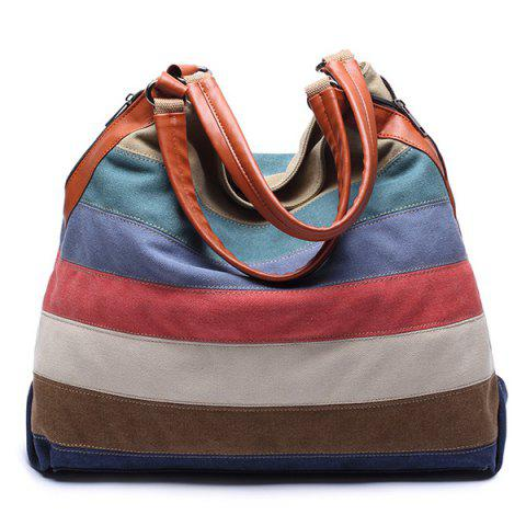 Hot Casual Strip and Canvas Design Tote Bag For Women -   Mobile
