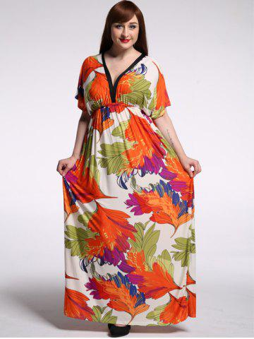 Online Stylish Plunging Neck Short Sleeve Floral Print Dress For Women