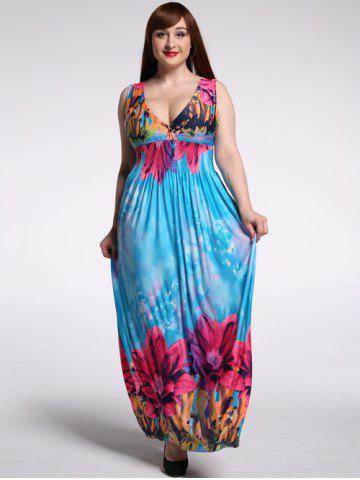 Trendy Sleeveless Floral Backless Plus Size Hawaiian Maxi Dress WATER BLUE 7XL