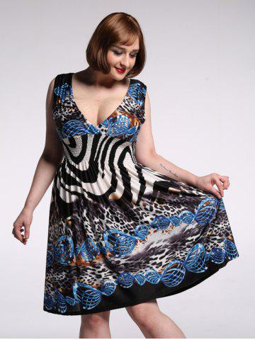 Buy Alluring Plunging Neck Sleeveless Leopard Print Dress For Women COLORMIX 7XL