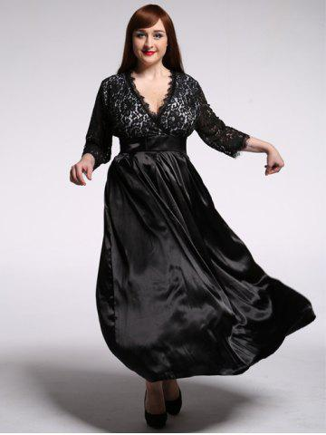 Shops Plus Size Lace Panel Maxi Formal Dress with Sleeves