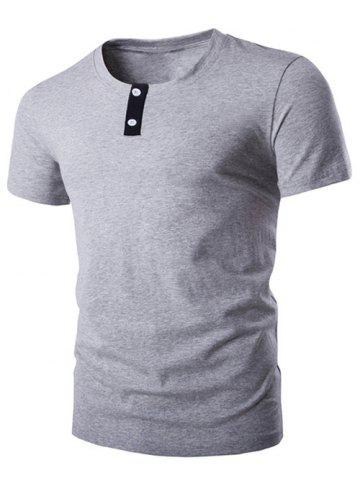 Chic Round Neck Button Embellished Short Sleeve T-Shirt For Men GRAY 2XL