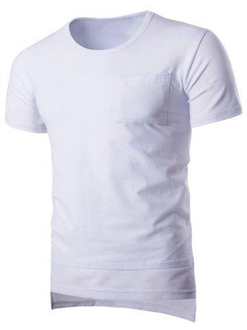 Online Round Neck Mesh Splicing Design Pocket Short Sleeve T-Shirt For Men WHITE M
