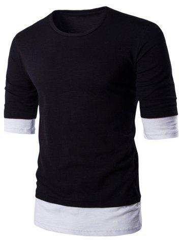 Online Round Neck Color Block Splicing Design T-Shirt For Men