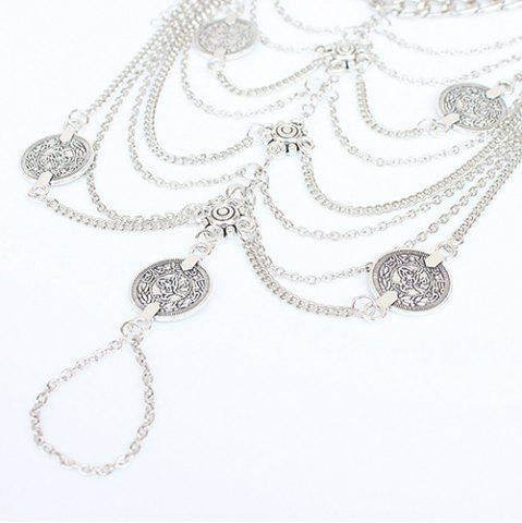Fancy Punk Style Layered Coins Tassel Anklet - SILVER  Mobile