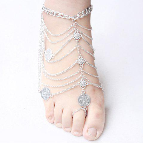 Outfit Punk Style Layered Coins Tassel Anklet