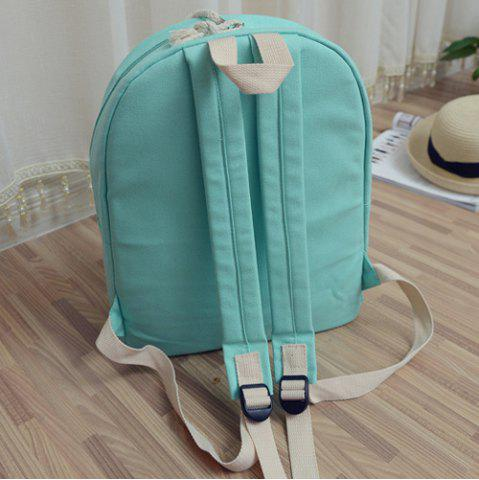 Trendy Simple Zippers and Canvas Design Backpack For Women - MINT GREEN  Mobile