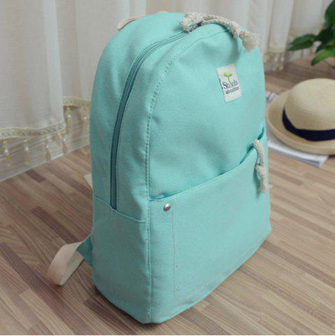 Outfits Simple Zippers and Canvas Design Backpack For Women - MINT GREEN  Mobile