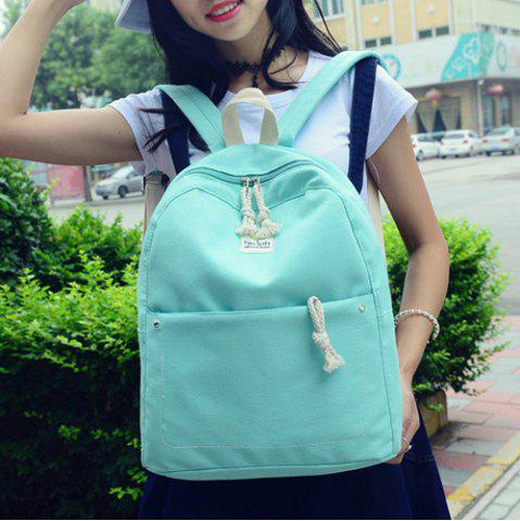 Hot Simple Zippers and Canvas Design Backpack For Women - MINT GREEN  Mobile