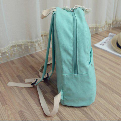New Simple Zippers and Canvas Design Backpack For Women - MINT GREEN  Mobile