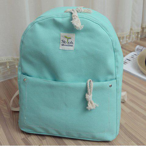 Latest Simple Zippers and Canvas Design Backpack For Women - MINT GREEN  Mobile