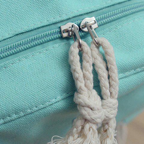 Chic Simple Zippers and Canvas Design Backpack For Women - MINT GREEN  Mobile