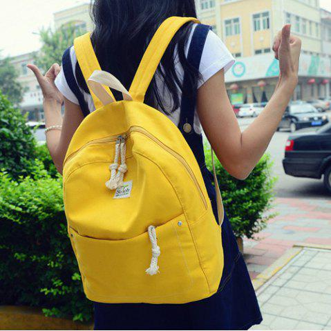 Outfits Simple Zippers and Canvas Design Backpack For Women YELLOW