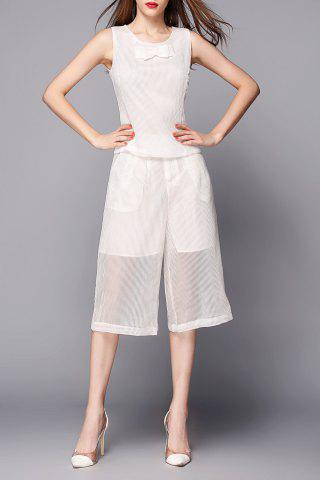 Affordable Sheer Wide Leg Pants with Tank Top