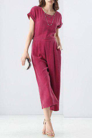 Fashion Disassembling Solid Color T-Shirt and High Waist Pants Suit