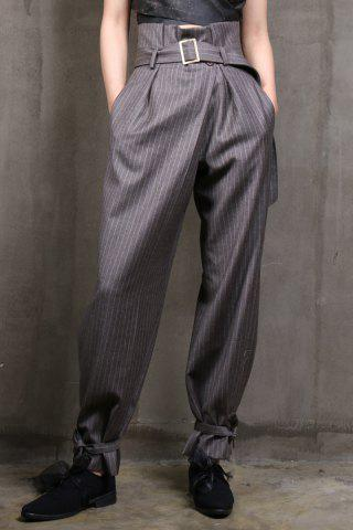 Latest Striped Woolen Suit Pants in Gray